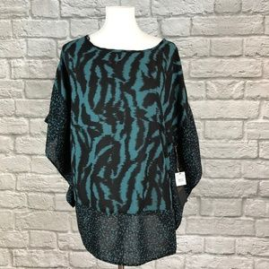 Dex NWT Teal Animal Print Sheer Tunic Top
